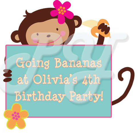 Monkey Love Personalized Party Favor