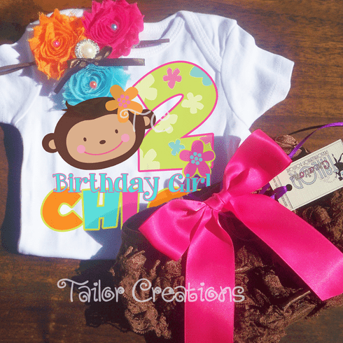 Monkey Love Personalized Shabby Chic Headband & Petti Lace Bloomers/Shots