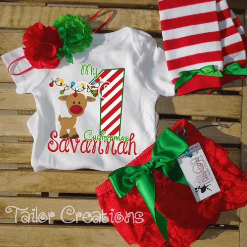 My 1st Christmas Personalized Petti Lace Set
