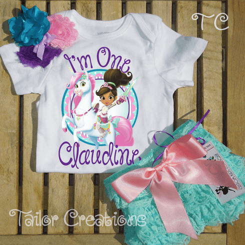Nella the Princess Knight personalized petti lace set