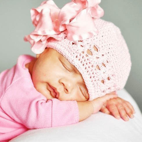 Newborn Baby Pink Bow Crochet Hat