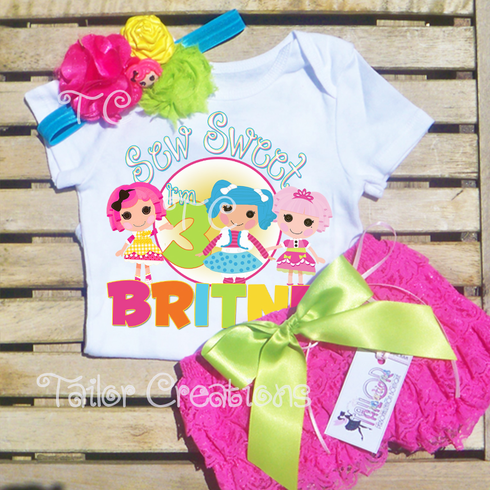 Personalized Lalaloopsy Hot Pink Petti Lace Shorts Set
