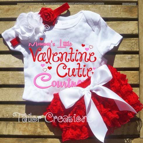 Personalized Valentine's Day Petti Lace Set