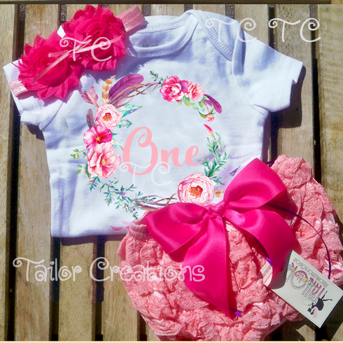 Pink and Coral Floral Wreath First Birthday Petti Lace Bloomers Set