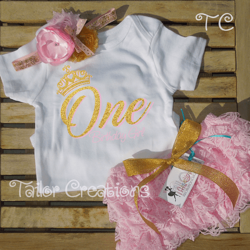 Pink and Gold Personalized Birthday Petti Lace Set
