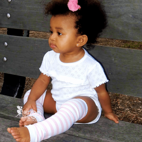 Pink and white stripe Leg warmers