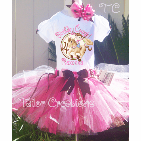 Pink Cowgirl Personalized Birthday tutu Set