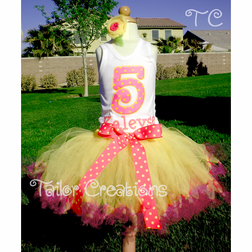 Pink lemonade personalized petti tutu set