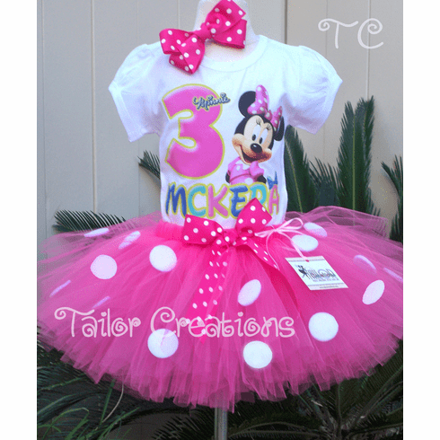 Pink Minnie Mouse pink polka dot birthday tutu set