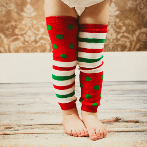 Polka dot and stripes Kids Christmas leg warmers
