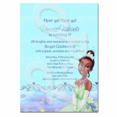 Princess and the Frog personalized invitations