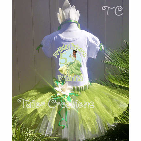 Princess and the Frog Tiana Glitter Sequin Personalized Birthday Tutu Set