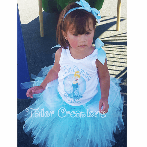 Princess Cinderella Glitter Personalized Birthday Tutu dress set