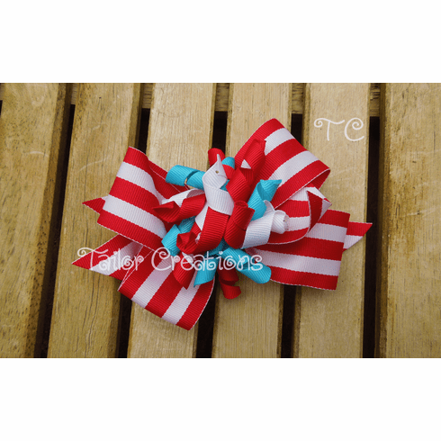 Red White and Blue Striped Korker Bow Clip