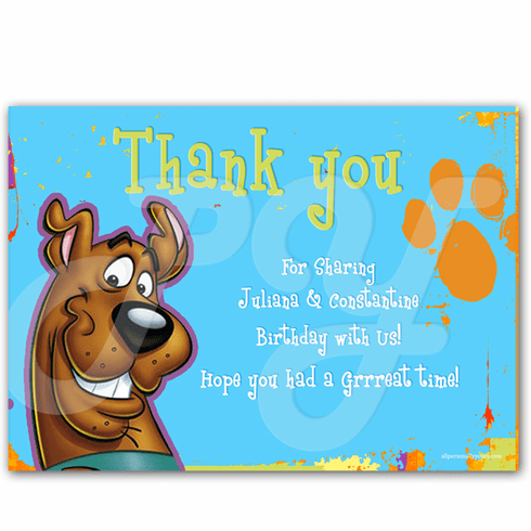 Scooby Doo Personalized Thank You Cards