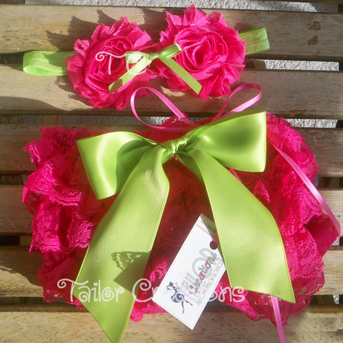 Shocking Pink and Lime Green Shabby Chic Headband & Petti Lace Bloomers/Shots