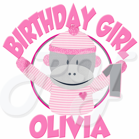 Sock Monkey Pink 1st personalized Birthday t-shirt