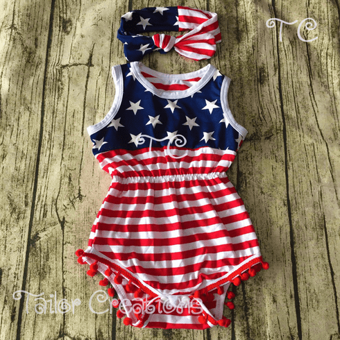 Stars and Stripes Pom Pom Romper Set