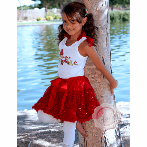Strawberry Red Sequin pettiskirt