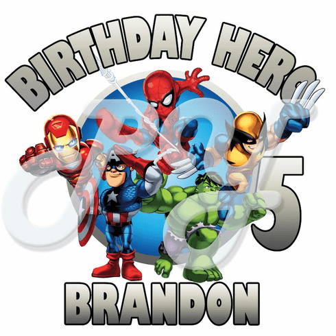 Super Hero Squad Personalized Birthday T Shirt