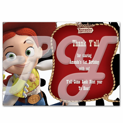 toy story jessie cowgirl personalized thank you cards - Personalized Credit Cards