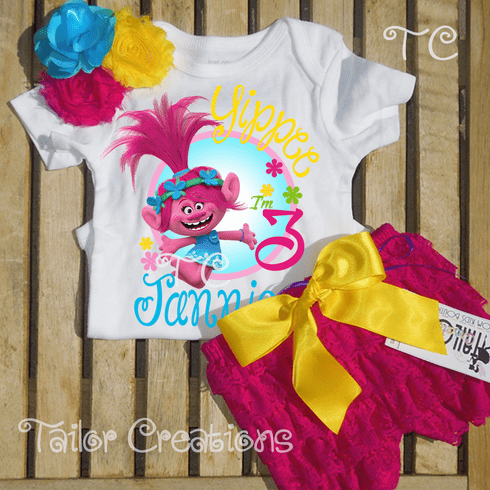 Trolls Poppy personalized Birthday petti lace set