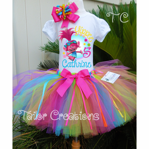 Trolls Poppy Personalized Rainbow Birthday Tutu Set