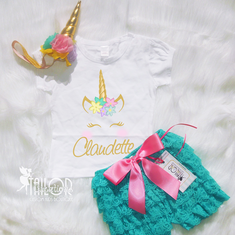 Unicorn Personalized Birthday petti lace set
