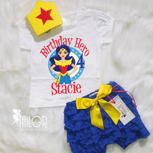 Wonder Girl Superhero Personalized Petti lace and crown set