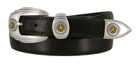 1001 State of Texas Genuine Italian Calfskin Smooth Leather Belt - Black