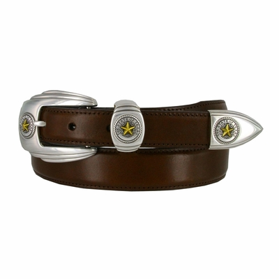 1001 State of Texas Genuine Italian Calfskin Smooth Leather Belt - Brown