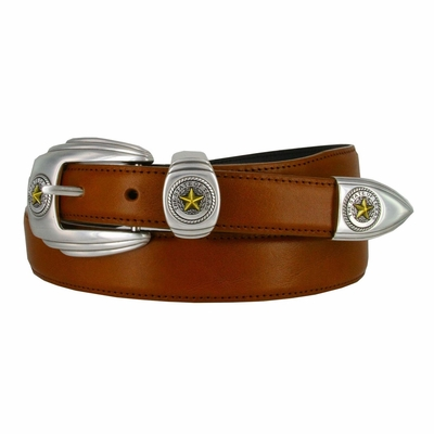 1001 State of Texas Genuine Italian Calfskin Smooth Leather Belt - Tan