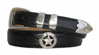 1002 Smooth Star Western Calfskin Leather Dress Belt