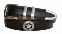"1003 Western Swirl Star Calfskin Leather Dress Belt - 1 1/4"" wide"