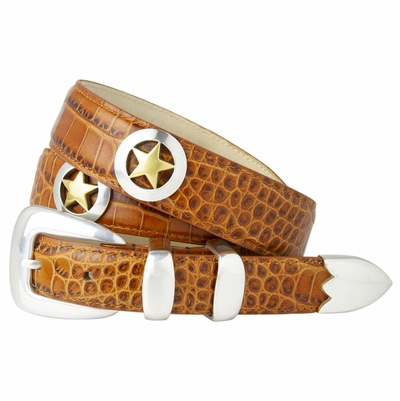 1004 Smooth Gold Star Italian Calfskin Leather Dress Belt