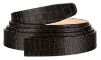 """102 One Piece Leather Alligator Embossed Strap Without Holes - 1"""" WIDE BLACK"""