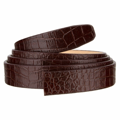 "102 One Piece Leather Alligator Embossed Strap Without Holes - 1"" WIDE BROWN"