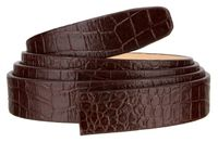 """102 One Piece Leather Alligator Embossed Strap Without Holes - 1"""" WIDE BROWN"""