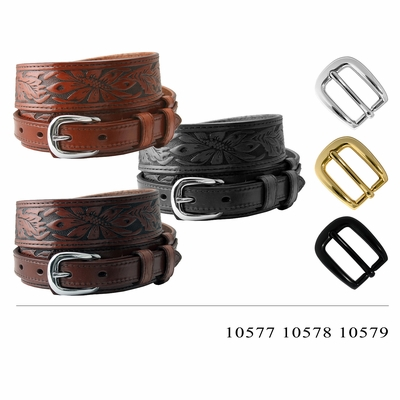 "1021 Traditional Ranger Floral Tooled Full Grain Leather Belt - 1 1/2"" Wide - 3/4"" Billet - 3 COLORS AVAILABLE"