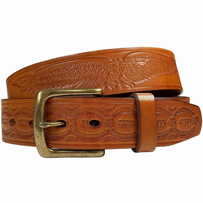 """10221 Eagle Embossed Braided Genuine Leather Casual Belt - 1 1/2"""" TAN"""