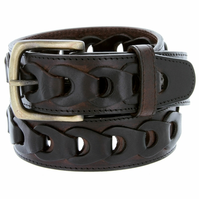 "10541 Braided Genuine Leather Casual Jean Belt - 1 1/2"" wide BROWN"