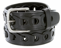 "10542 Braided Genuine Leather Casual Jean Belt -  1 1/2"" wide BLACK"