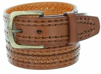 10561 Fine Triple Braided Genuine Leather Casual Jean Belt - TAN