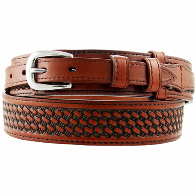 "1022 Western Basket-weave Ranger Belt -  1 1/2"" - 3/4"" Wide TAN"