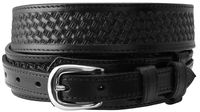 "1022 Western Basket-weave Embossed Ranger Belt - 1 1/2"" - 3/4"" Wide - BLACK"