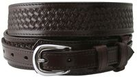 "1022 Western Basket-weave Embossed Ranger Belt - 1 1/2"" - 3/4"" Wide BROWN"