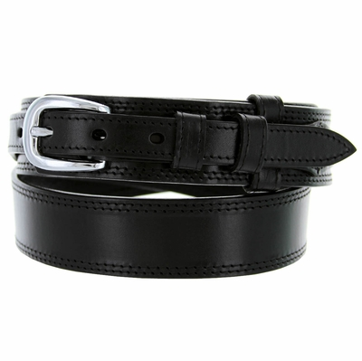 "1020 Traditional Ranger Smooth Leather Belt - 1 1/2"" - 3/4"" - BLACK"