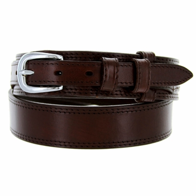 "1020 Traditional Ranger Smooth Leather Belt - 1 1/2"" -  3/4"" - BROWN"