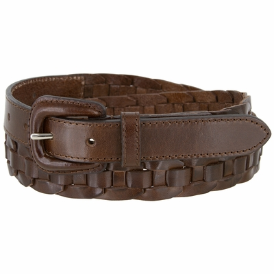 """1131 Women's Casual One Piece Full Leather Hand Lacing Braided Belt 1"""" Wide  - 3 COLORS AVAILABLE"""