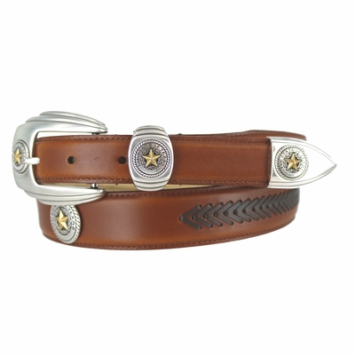 127 State of Texas Seal Western Arrow Lacing Belt - SADDLE TAN/BROWN